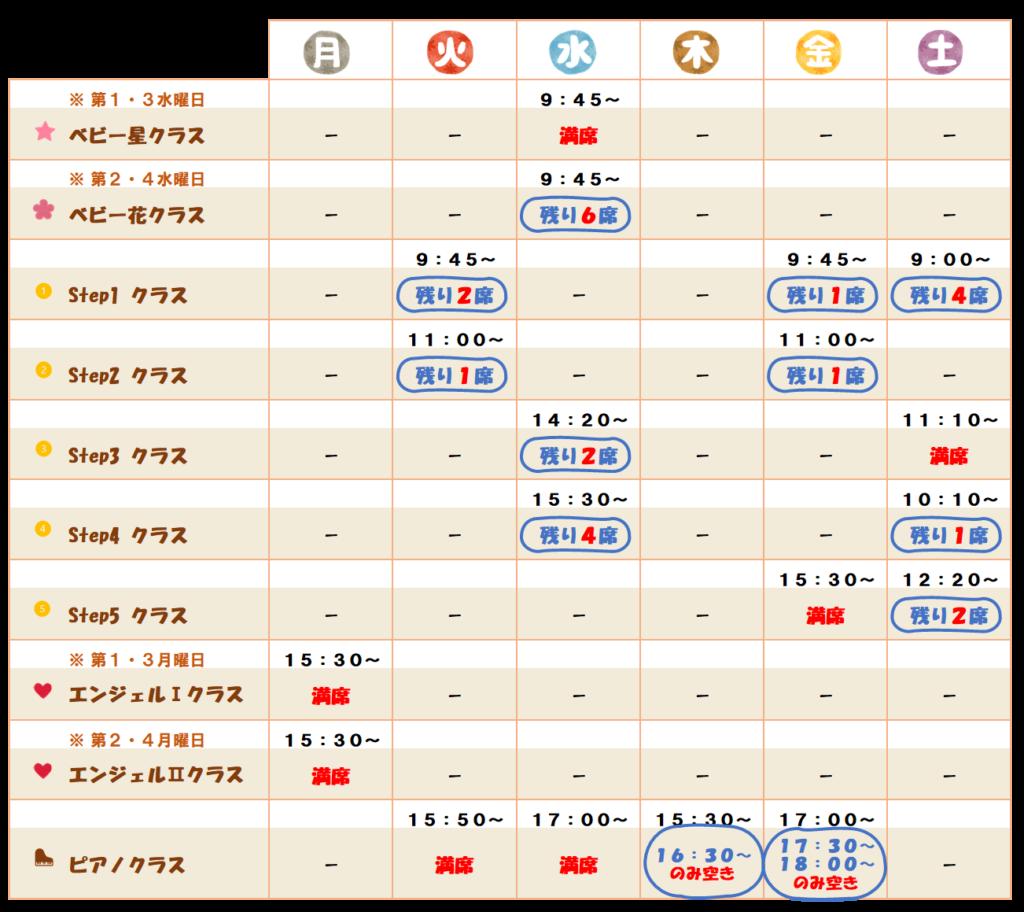 リトミック岡山教室のスケジュール_2021.6.23