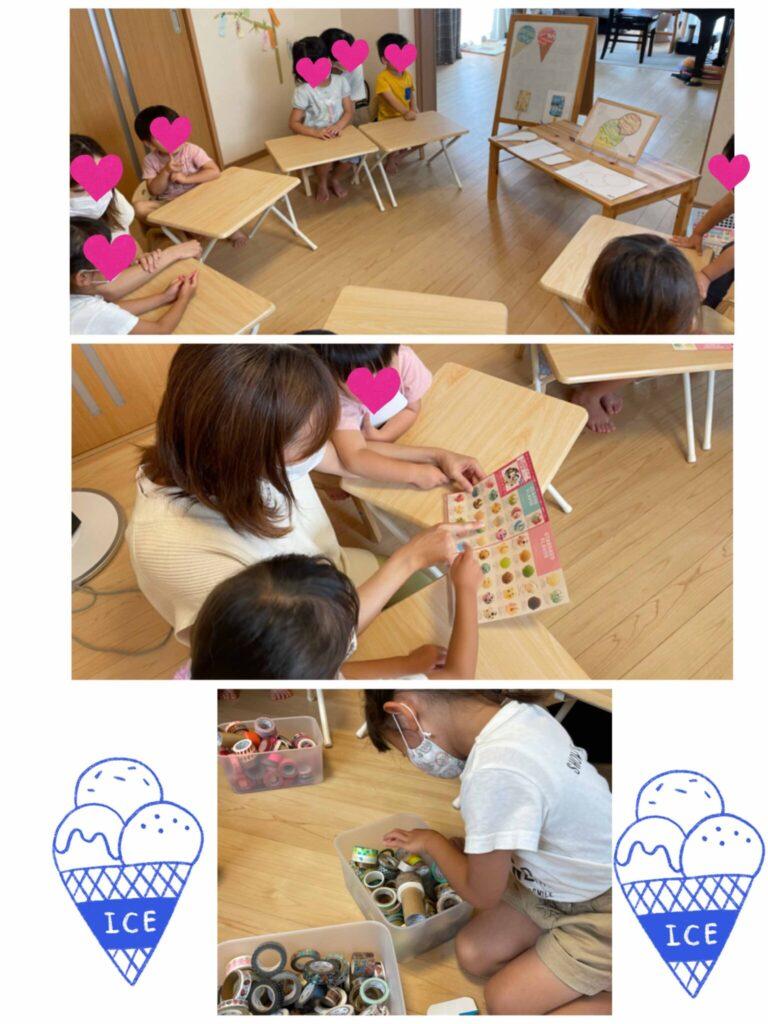 マスキングテープ教室に参加する親子たち